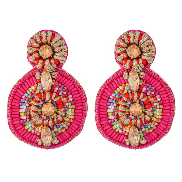 "Oversized Seed Beaded Felt Drop Earrings Featuring Rhinestone Gemstones & Thread Wrapped Details.  - Approximately 2.5"" L"