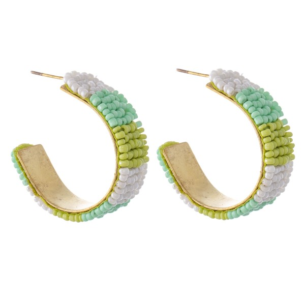 "Seed Beaded Color Block Statement Hoop Earrings.  - Approximately 1.25"" in Diameter"