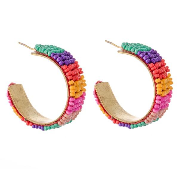 """Seed Beaded Color Block Statement Hoop Earrings.  - Approximately 1.25"""" in Diameter"""