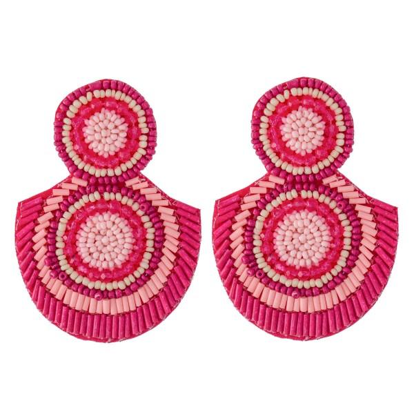 """Oversized Seed Beaded Felt Drop Earrings.  - Approximately 3"""" L"""