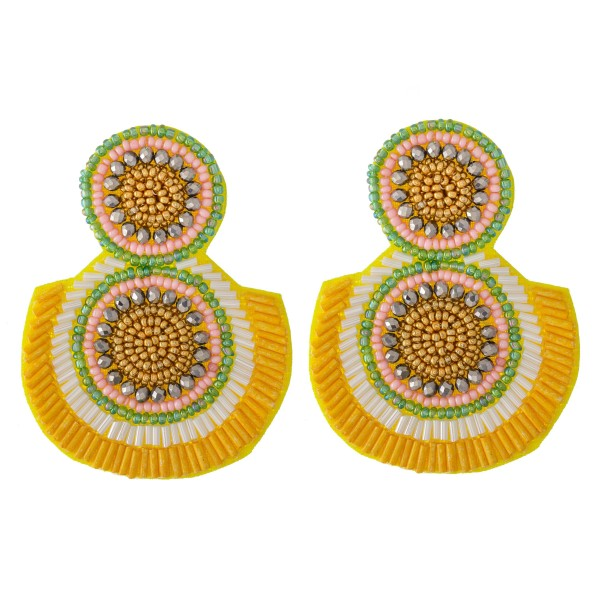 Wholesale oversized Seed Beaded Felt Drop Earrings L