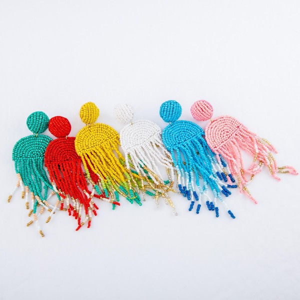 "Oversized Seed Beaded Felt Tassel Drop Earrings.  - Approximately 4"" L"