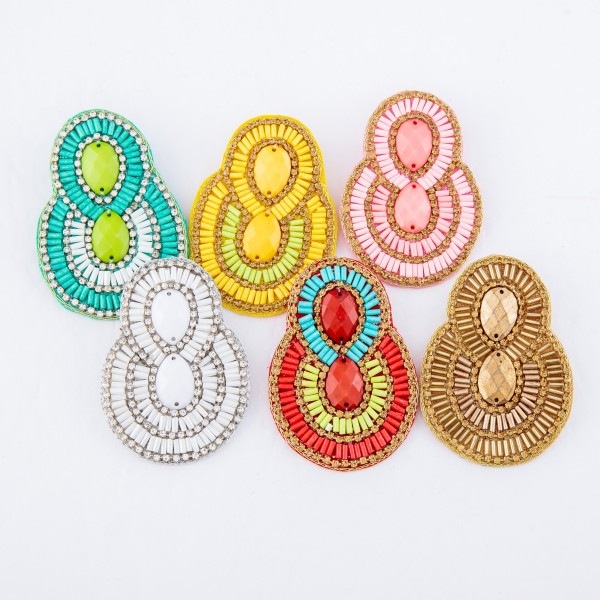 "Oversized Seed Beaded Felt Drop Earrings Featuring Gemstone Details.  - Approximately 2.5"" L"