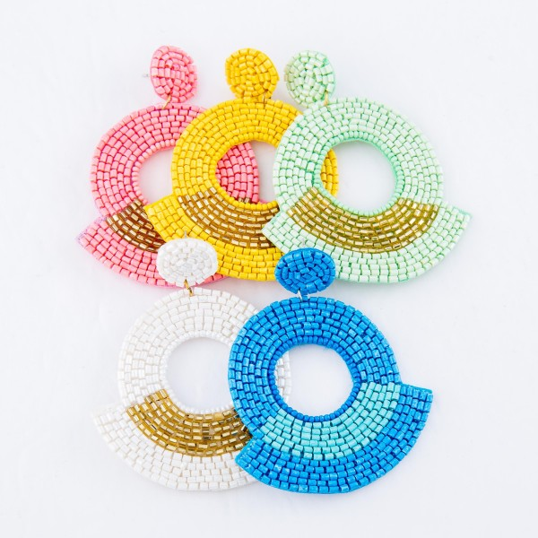 """Oversized Two Tone Seed Beaded Cut Out Felt Drop Earrings.  - Approximately 3"""" L  - Approximately 2"""" in Diameter"""