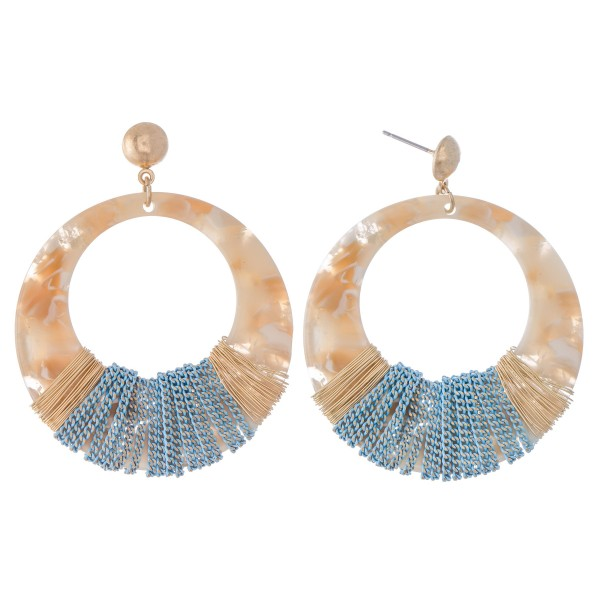 """Circular Resin Drop Earrings Featuring Thread & Wire Wrapped Details.  - Approximately 2.25"""" L  - Approximately 2"""" in Diameter"""