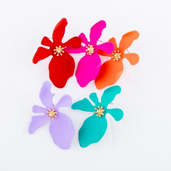 Coated Metal Flower Statement Stud Earrings.  - Approximately 2""