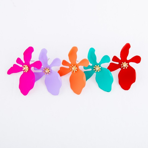 """Coated Metal Flower Statement Stud Earrings.  - Approximately 2"""""""
