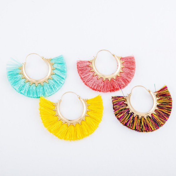 "Fringe Tassel Hoop Earrings Featuring Gold Trim.  - Approximately 2"" x 3"""