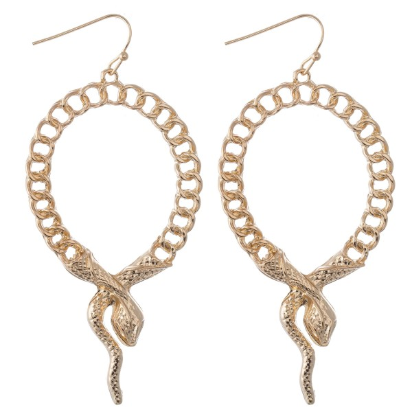 "Designer Inspired Chain Link Snake Drop Earrings.  - Approximately 3"" L"