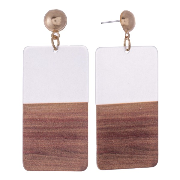 """Half & Half Resin Rectangle Statement Earrings Featuring Wood Accents.  - Approximately 3"""" L"""