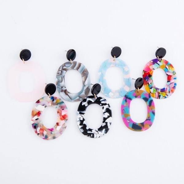 "Resin Ring Drop Earrings.  - Approximately 2.5"" L"