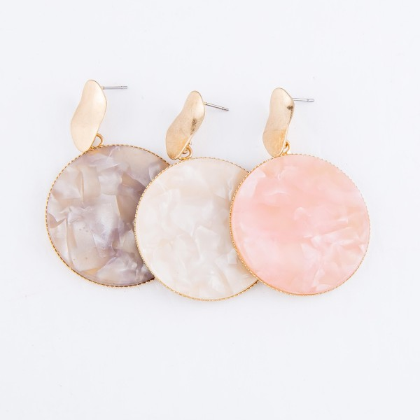 """Resin Disc Drop Earrings Featuring Gold Trim.  - Approximately 2"""" L  - Approximately 1.25"""" in Diameter"""