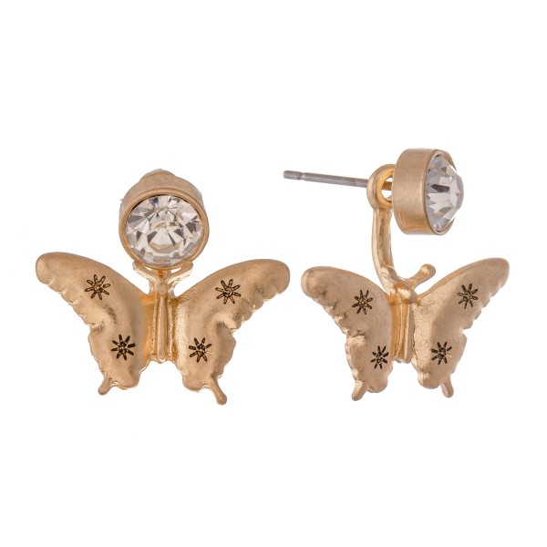 "Rhinestone Butterfly Stud Earrings.  - Approximately .75"" L"