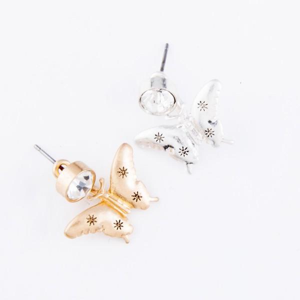 """Rhinestone Butterfly Stud Earrings.  - Approximately .75"""" L"""