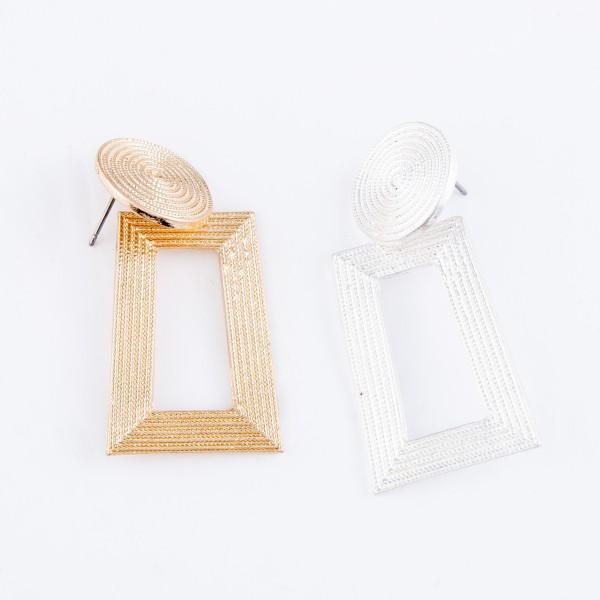 """Ribbed Textured Bohemian Square Drop Earrings.  - Approximately 2"""" L"""