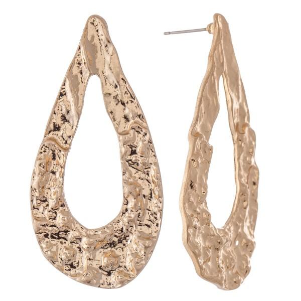 "Abstract Metal Teardrop Earrings.  - Approximately 2.25"" L"