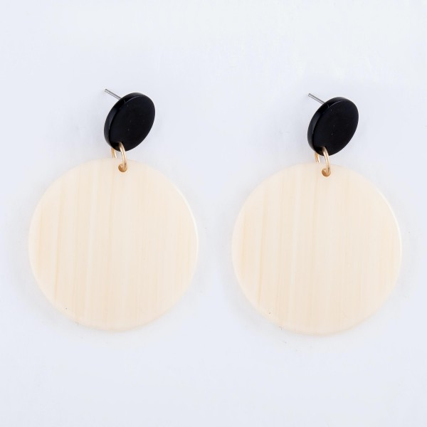 """Cream Resin Drop Earrings.  - Approximately 2"""" L  - Approximately 1.5"""" in Diameter"""