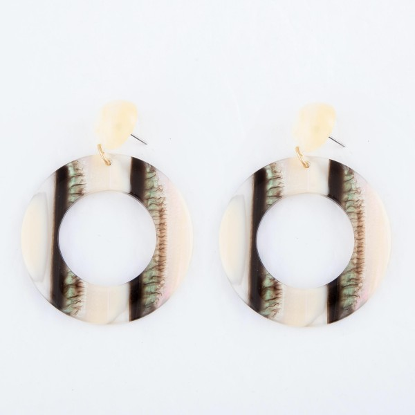 """Cream Resin Button Drop Earrings Featuring Abalone Accents.  - Approximately 2.5"""" L - Approximately 2"""" in Diameter"""