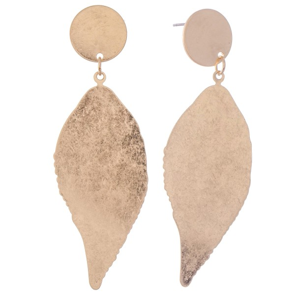 "Flat Metal Plated Leaf Drop Earrings.  - Approximately 3"" L"