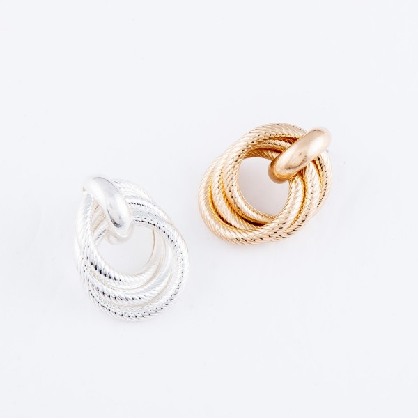 "Textured Knot Stud Earrings.  - Approximately 1.25"" in Diameter"