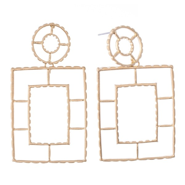 "Metal Cut Out Square Drop Earrings.  - Approximately 2.5"" L"