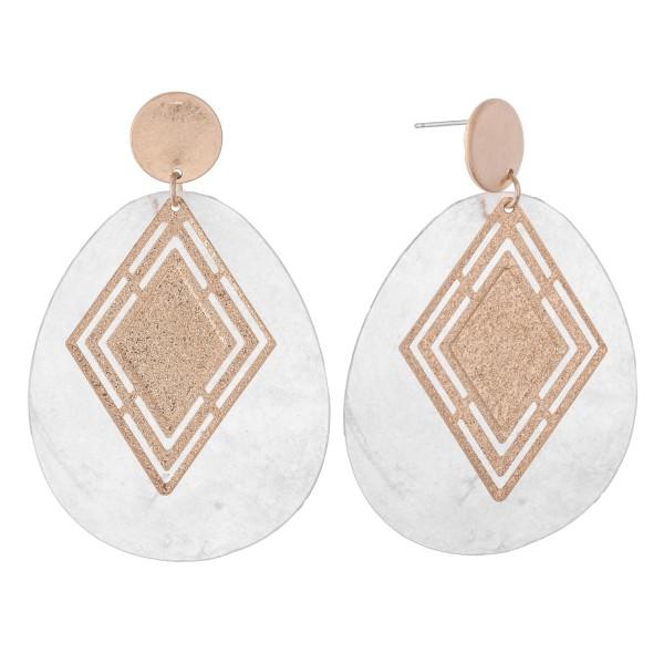 "Shell Teardrop Earrings Featuring Gold Diamond Detail.  - Approximately 2.5"" L"