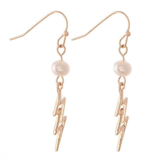 "Lightning Bolt Drop Earrings Featuring Pearl Accent.  - Approximately 1.25"" L"