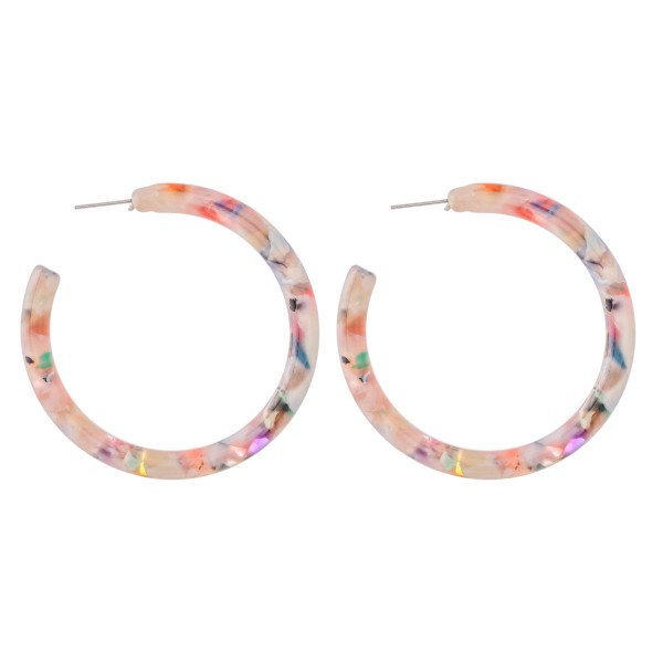 "Multicolor Resin Hoop Earrings.  - Approximately 2"" in Diameter - Hoop Thickness 4mm"