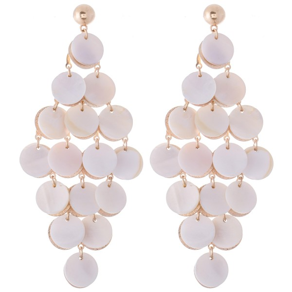 """Mother of Pearl Tiered Chandelier Statement Earrings in Gold.  - Approximately 4"""" L x 2"""" W"""