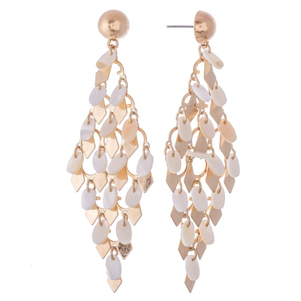 """Mother of Pearl Tiered Chandelier Earrings Featuring Gold Diamond Accents.  - Approximately 3"""" L"""