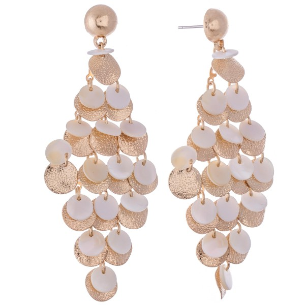 """Mother of Pearl Tiered Chandelier Drop Earrings in Gold.  - Approximately 3"""" L"""