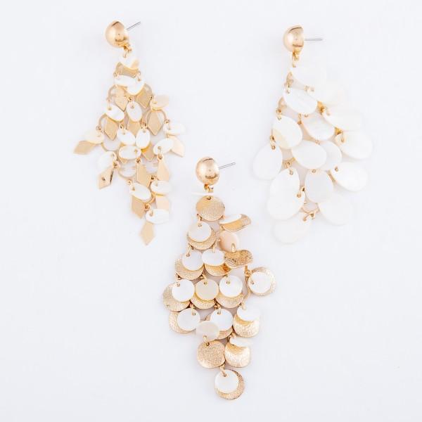 """Mother of Pearl Teardrop Tiered Chandelier Drop Earrings.  - Approximately 3"""" L"""