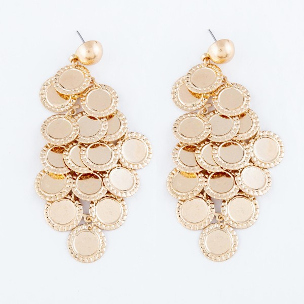 """Gold Tiered Statement Drop Earrings.  - Approximately 3"""" L"""