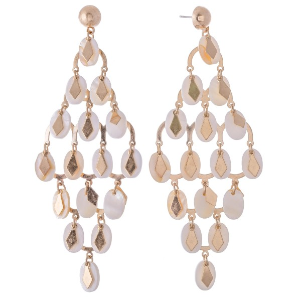"""Mother of Pearl Tiered Chandelier Statement Earrings Featuring Gold Diamond Accents.  - Approximately 4"""" L x 2"""" W"""