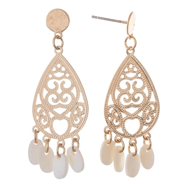 """Filigree Teardrop Earrings in Gold Featuring Mother of Peal Accents.  - Approximately 1.5"""" L"""