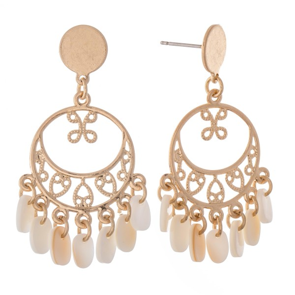"""Filigree Drop Earrings in Gold Featuring Mother of Pearl Accents.  - Approximately 1.5"""" L"""