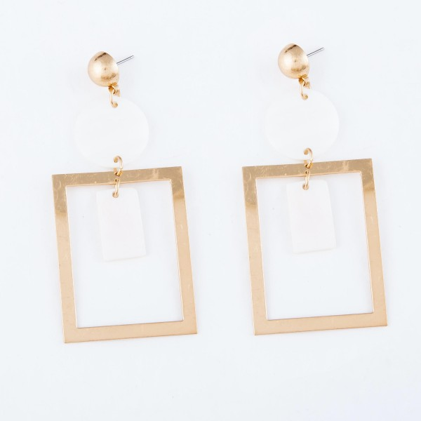"""Mother of Pearl Geometric Nested Statement Earrings in Gold.  - Approximately 3"""" L"""