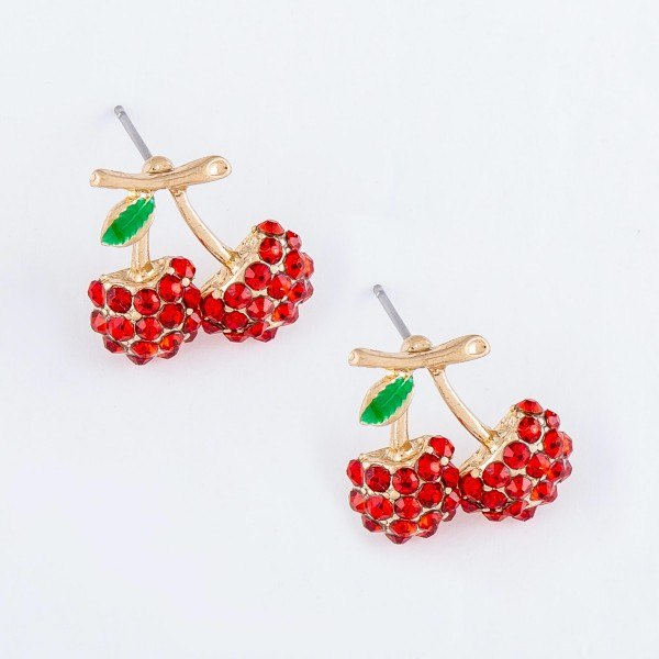 Rhinestone Cherry Stud Earrings.  - Approximately .75""
