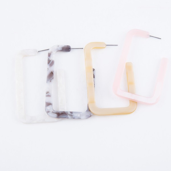 "Resin Square Statement Hoop Earrings.  - Approximately 2.5"" L"