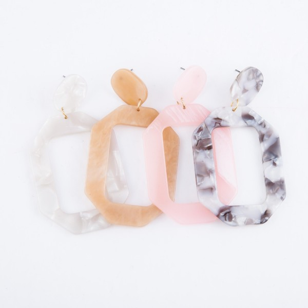 "Resin Statement Drop Earrings.  - Approximately 3"" L"