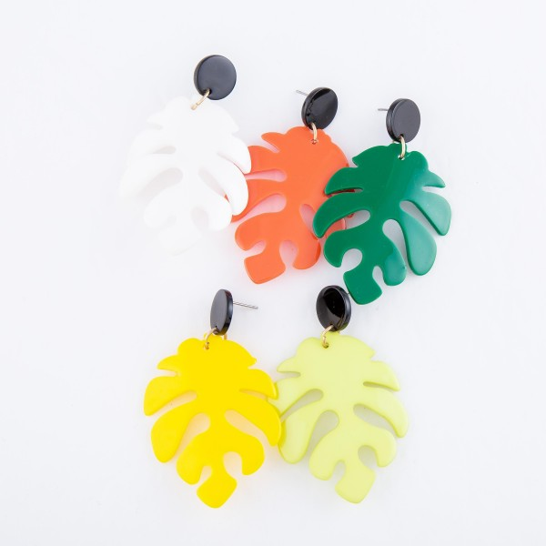 """Resin Palm Leaf Statement Drop Earrings.  - Approximately 2.5"""" L"""
