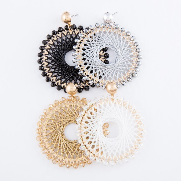 "Thread Woven Circular Drop Earring Featuring Beaded Trim & Metallic Accents.  - Approximately 2.25"" L - Approximately 2"" in Diameter"