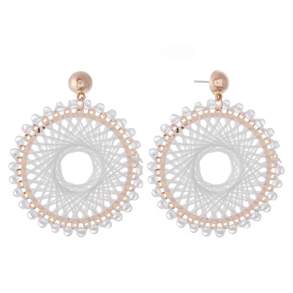 Wholesale thread Woven Circular Drop Earring Beaded Trim Metallic Accents L Diam