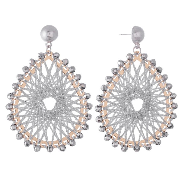 """Thread Woven Teardrop Earrings Featuring Beaded Trim & Metallic Accents.  - Approximately 2.5"""" L"""