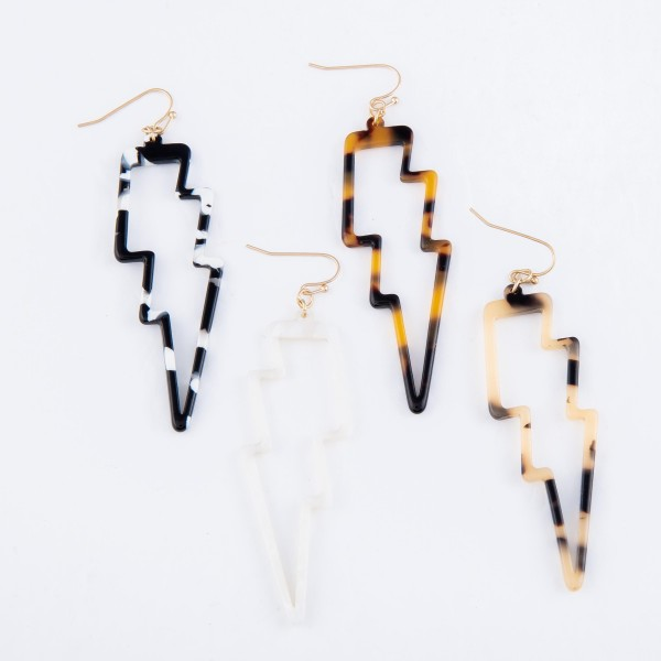 "Resin Statement Lightning Bolt Drop Earrings.  - Approximately 3"" L"