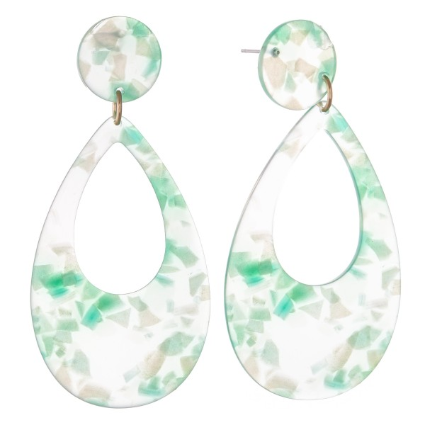 "Iridescent Resin Teardrop Earrings.  - Approximately 3"" L"