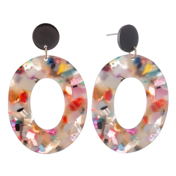 "Resin Ring Drop Earrings.  - Approximately 2.5"" L"