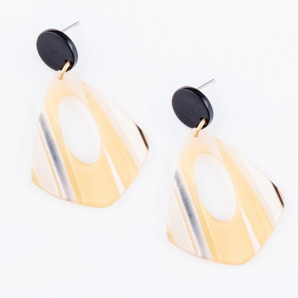 "Resin Stripe Teardrop Earrings Featuring Glitter Accents.  - Approximately 2"" L"