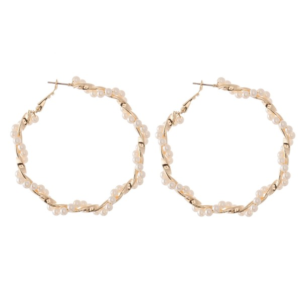 "Ivory Pearl Beaded Twisted Hoop Earrings in Gold.  - Approximately 2"" in Diameter"