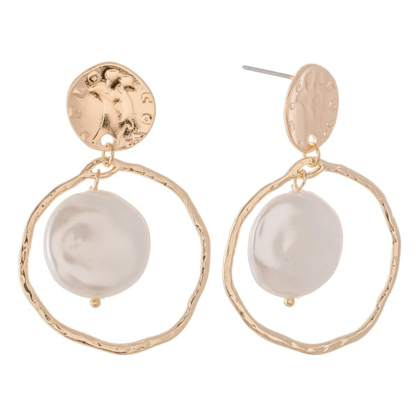 "Faux Freshwater Pearl Nested Drop Earrings.  - Pearl (approx) .75""  - Approximately 1.5"" L - Approximately 1.25"" in Diameter"